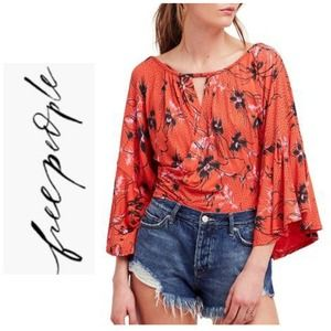 Free People Last Time Draped Bell Sleeve Top XS